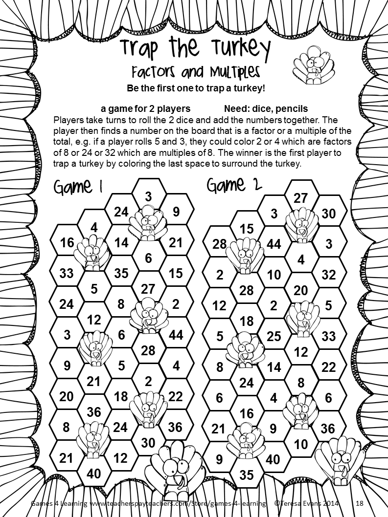 Thanksgiving Math Games Fourth Grade: Fun Thanksgiving Activities - Free Printable Thanksgiving Worksheets For Middle School