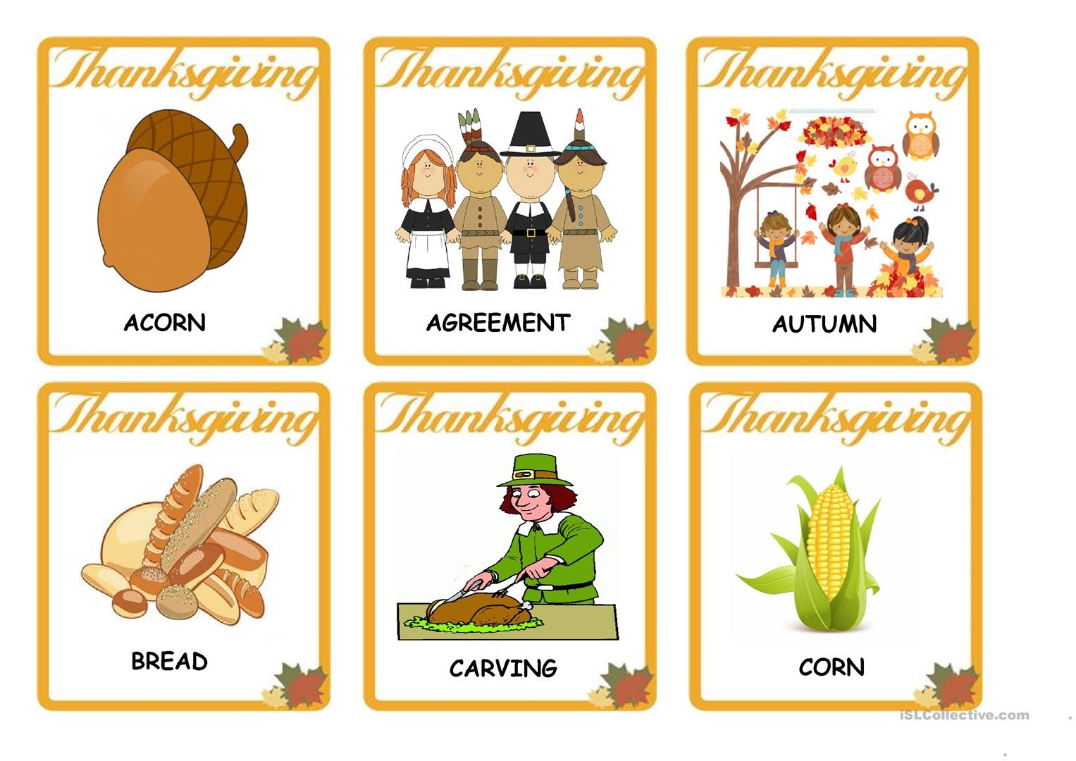 Thanksgiving - Vocabulary Flash Cards Worksheet - Free Esl Printable - Free Printable Vocabulary Flashcards