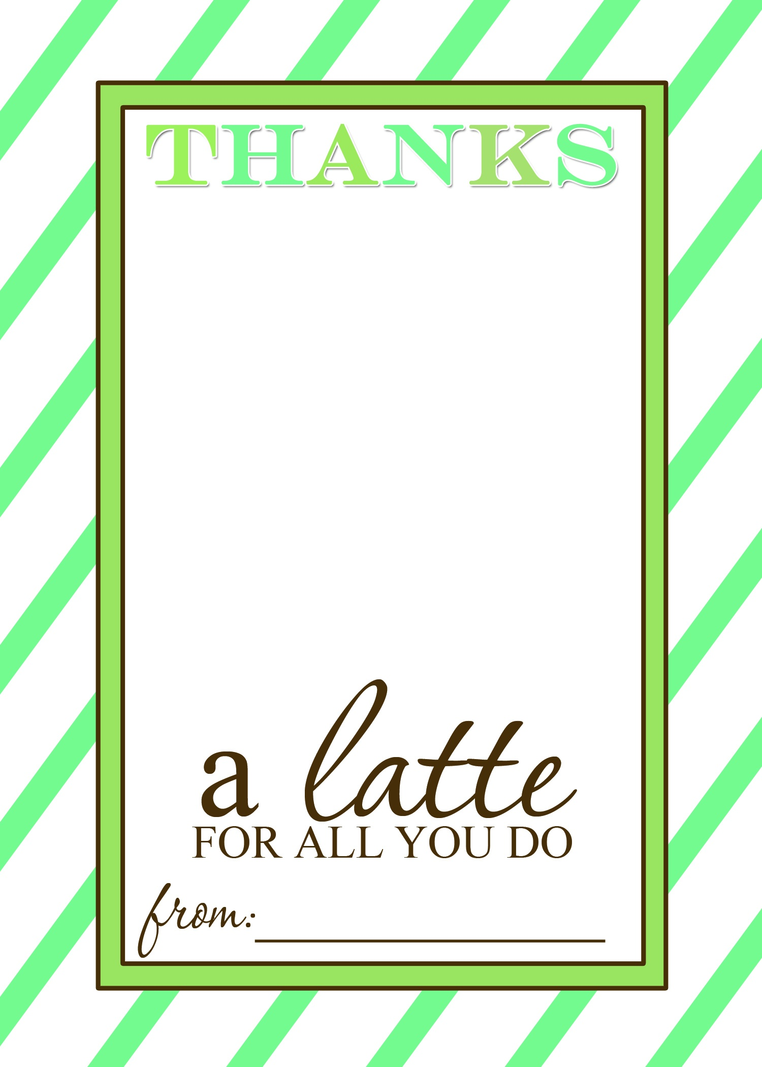 That's Country Living - Thanks A Latte Free Printable Card