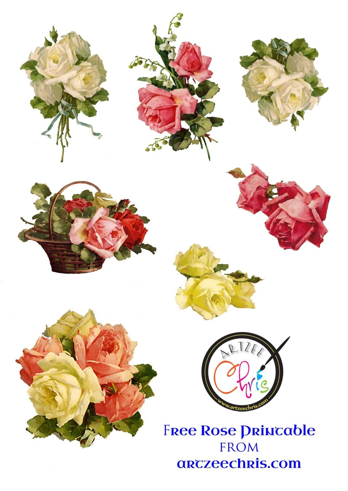 The Artzee Blog: Free Vintage Victorian Roses Printable | Free - Free Printable Decoupage Flowers