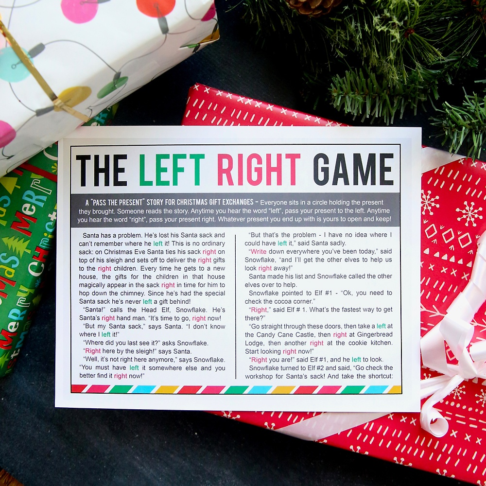 The Christmas Left Right Game (W/printable Story) - It's Always Autumn - Free Printable Religious Christmas Games