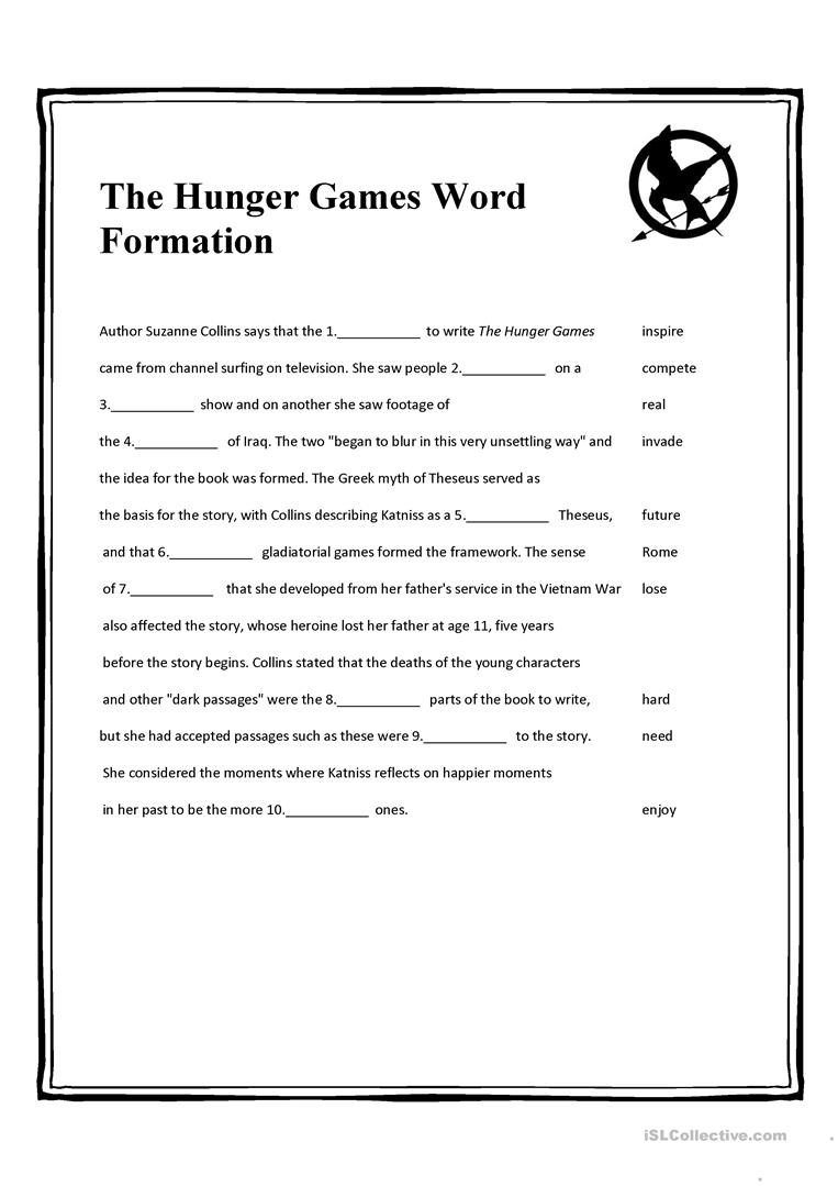 The Hunger Games Word Formation Worksheet - Free Esl Printable - Hunger Games Free Printable Worksheets
