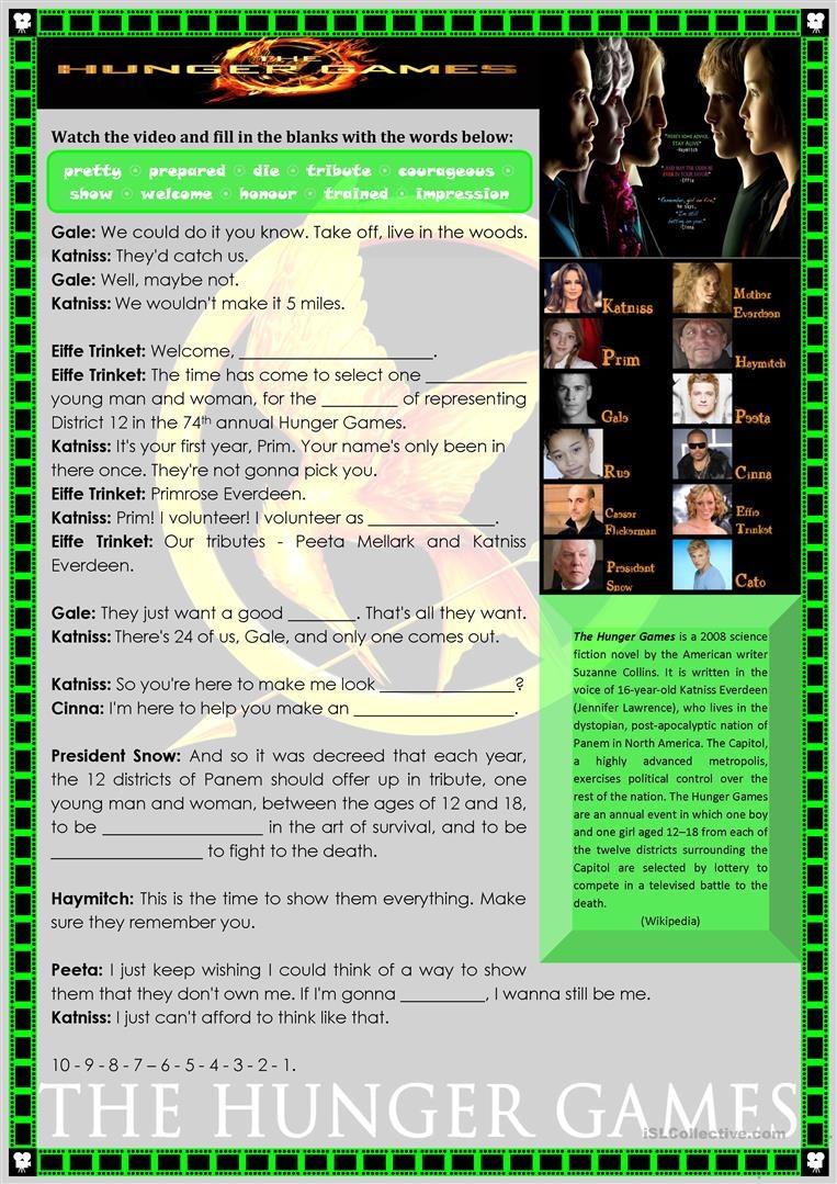 The Hunger Games Worksheet - Free Esl Printable Worksheets Made - Hunger Games Free Printable Worksheets