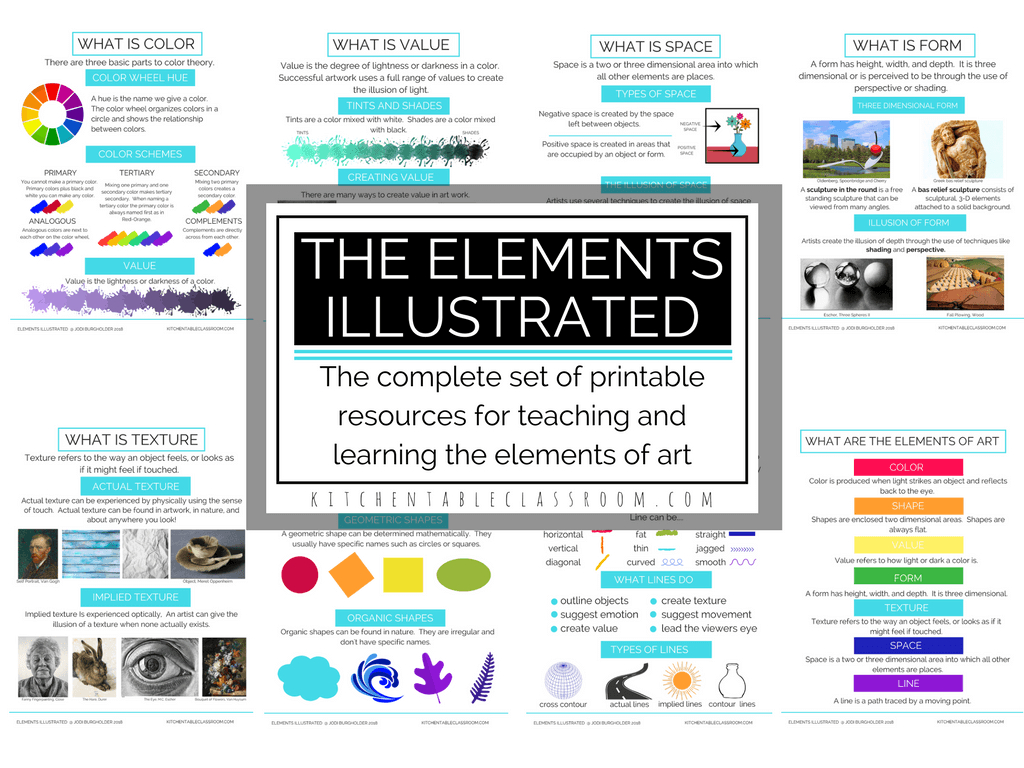 The Illustrated Elements- Elements Of Art Posters And Printable - Literacy Posters Free Printable