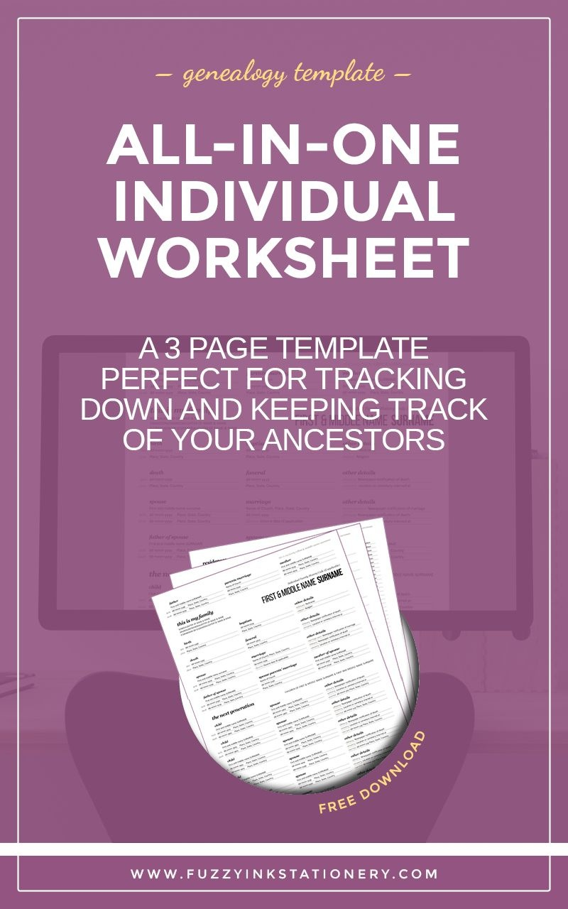 The Ultimate All-In-One Genealogy Individual Worksheet | Upbringing - Free Printable Genealogy Worksheets