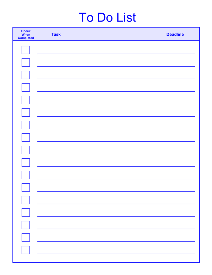 Things-To-Do-List-Template-Pdf - Free Printable To Do List Pdf
