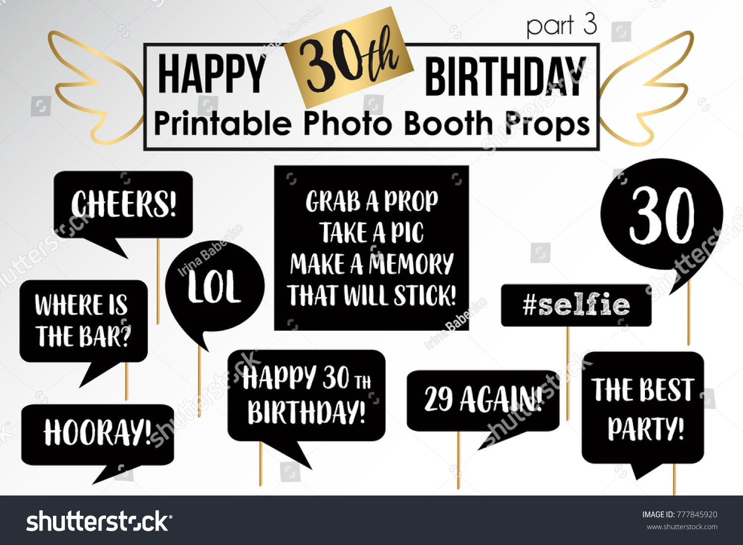 Thirtieth Birthday Party Printable Photo Booth Stock Vector (Royalty - Free Printable 30Th Birthday Photo Booth Props