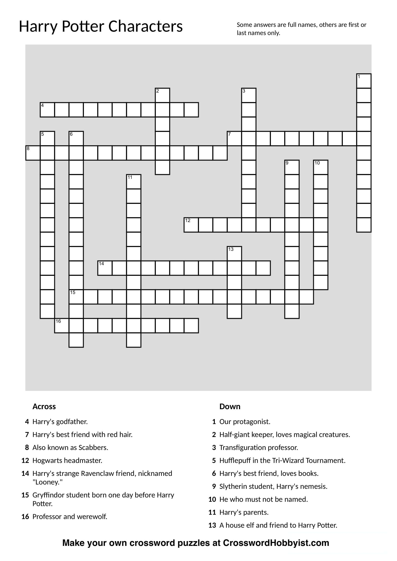 This Harry Potter Characters Crossword Puzzle Was Made At - Make Your Own Crossword Puzzle Free Printable