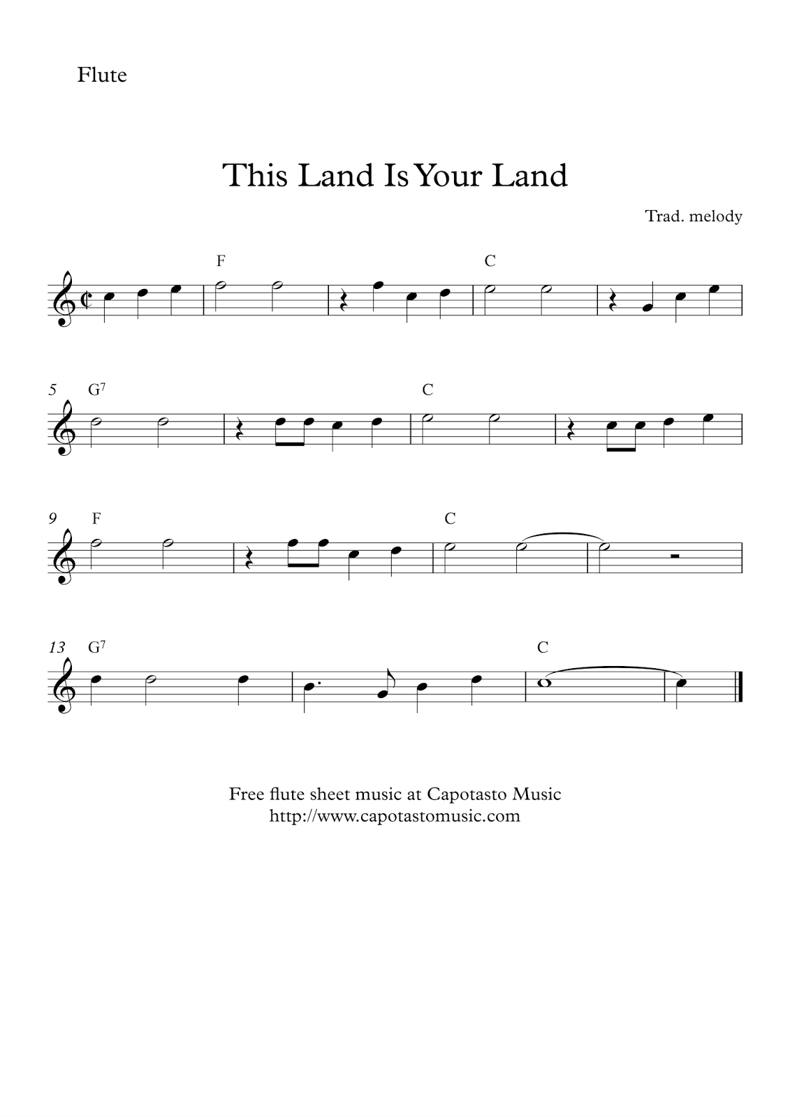 This Land Is Your Land - Free Easy Flute Sheet Music - Free Printable Flute Music