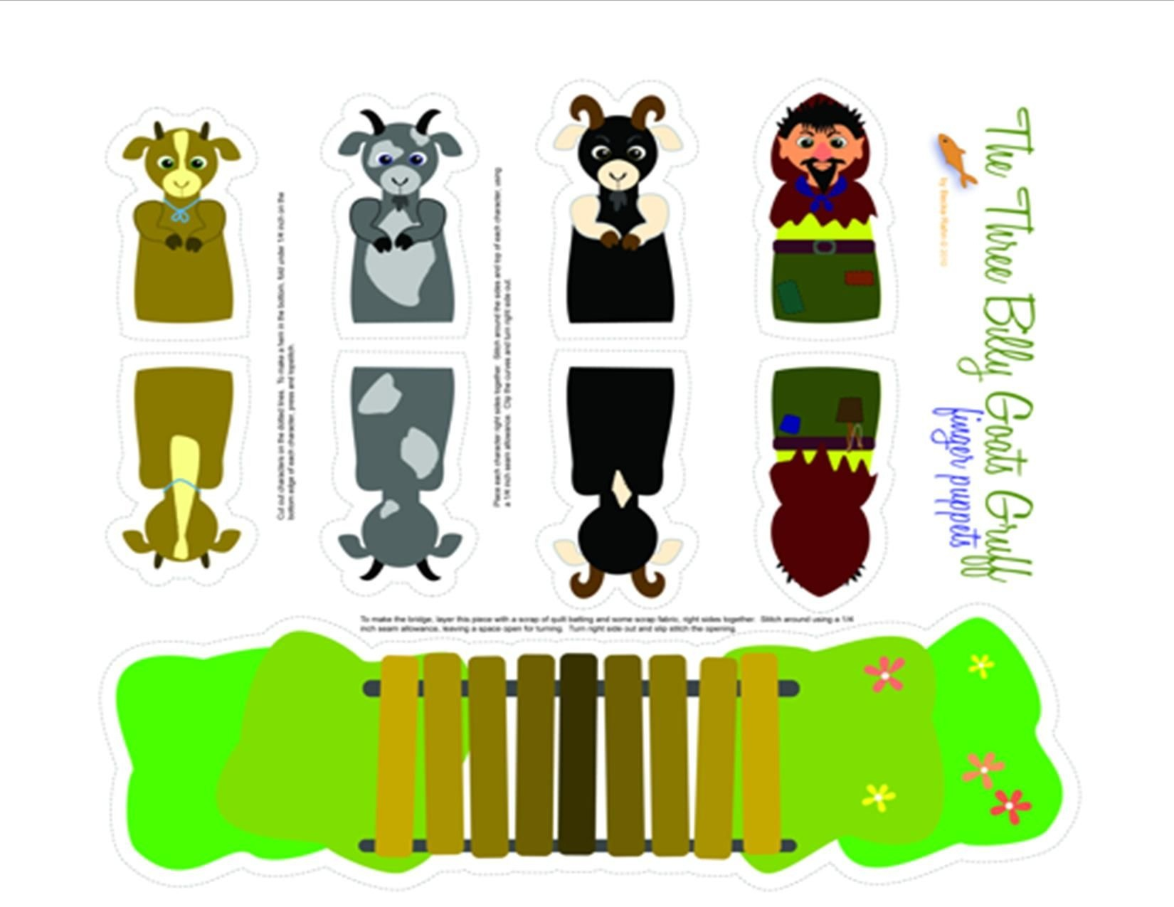 Three Billy Goats Gruff Printable Puppets | Pre-K | Finger Puppets - Three Billy Goats Gruff Masks Printable Free