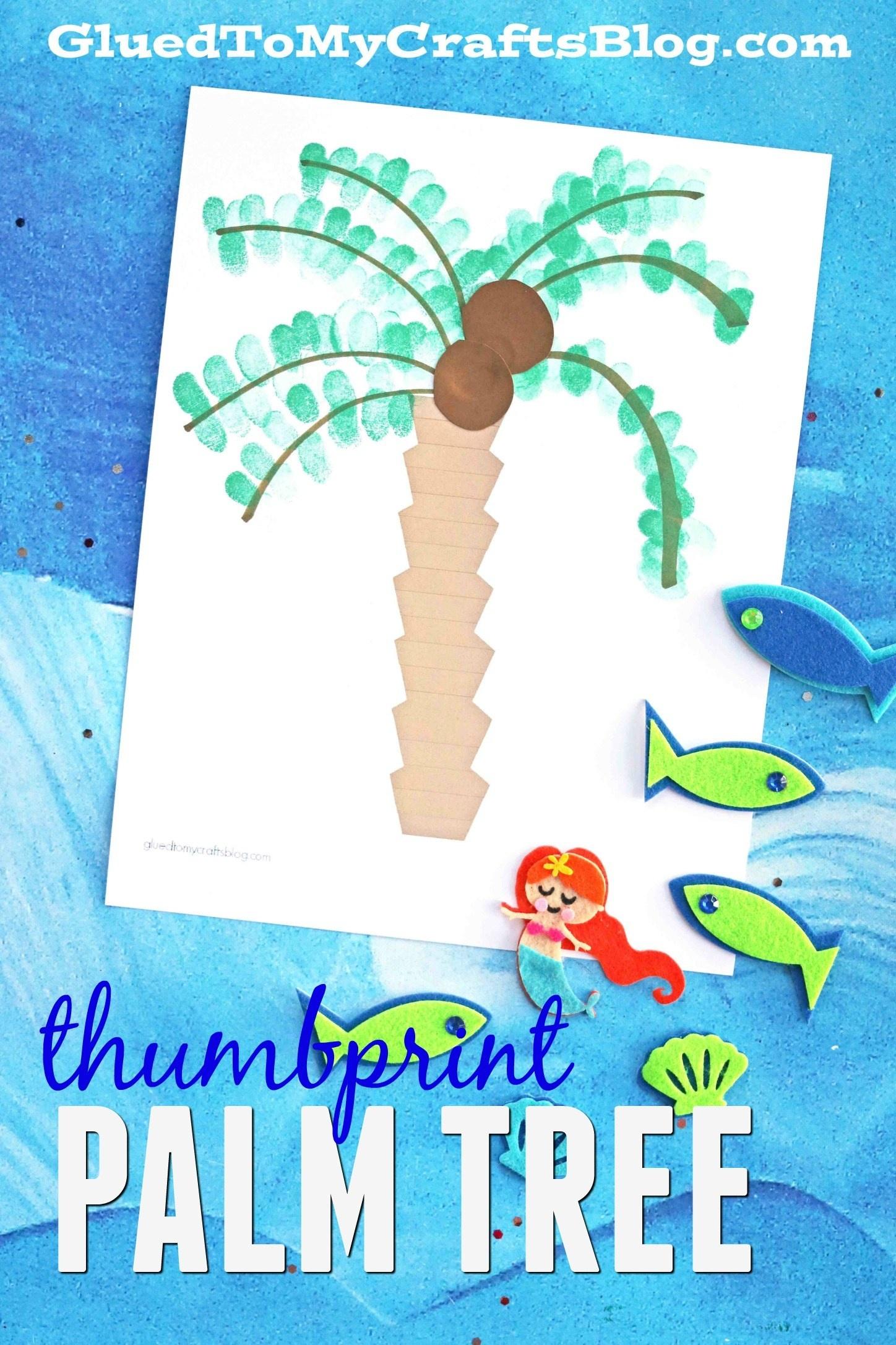 Thumbprint Palm Tree W/free Printable Template - Glued To My Crafts - Free Printable Palm Tree Template