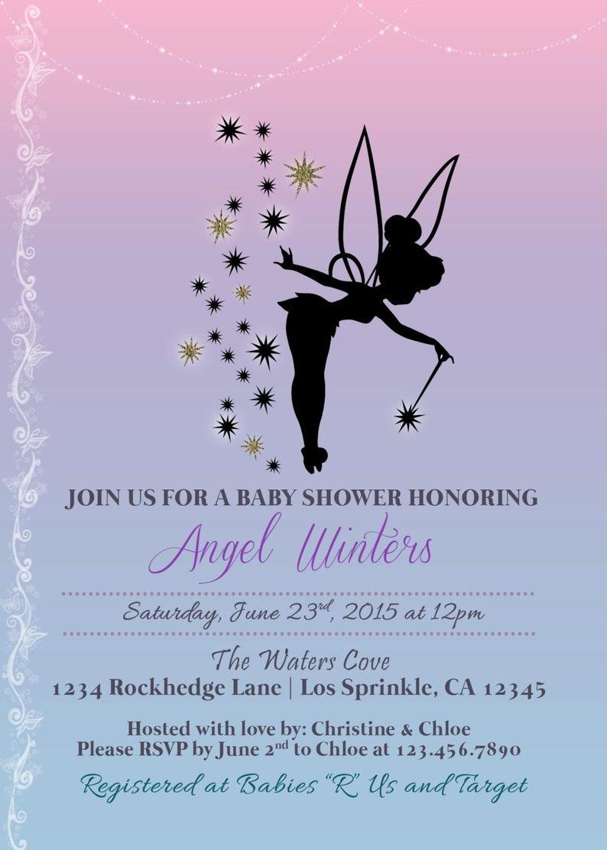 Tinkerbell Inspired Baby Shower Invitation Printable Baby   Etsy - Free Printable Tinkerbell Baby Shower Invitations