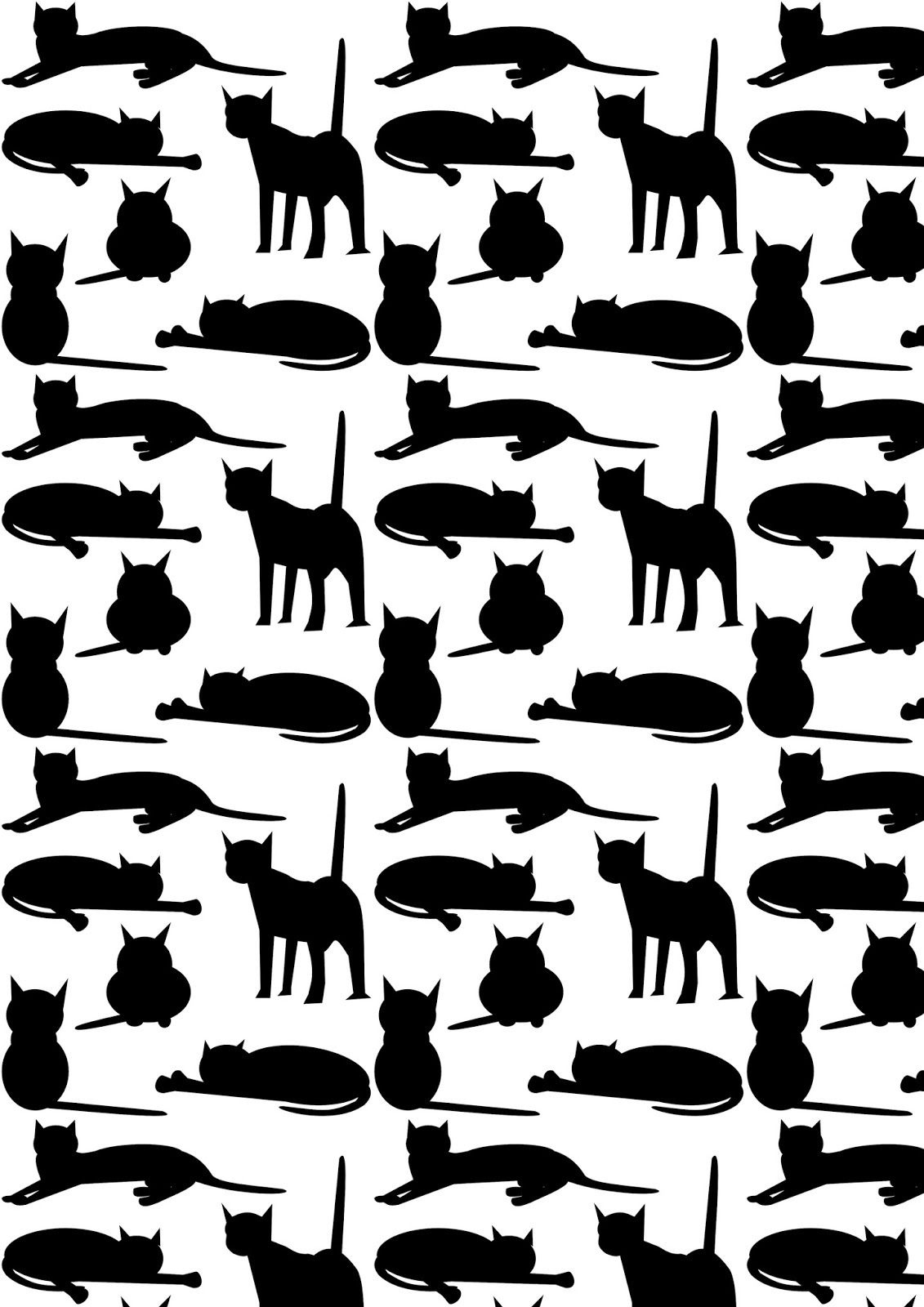 Today I Created Another Free Printable Cat Pattern Paper For You - Free Printable Cat Silhouette