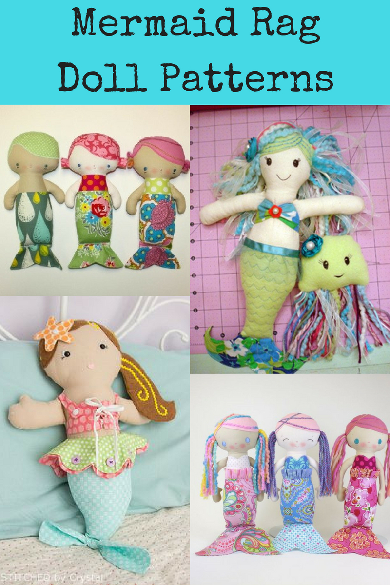 Top Mermaid Rag Dolls Sewing Patterns | Analina Rag Dolls Blog Post - Free Printable Cloth Doll Sewing Patterns