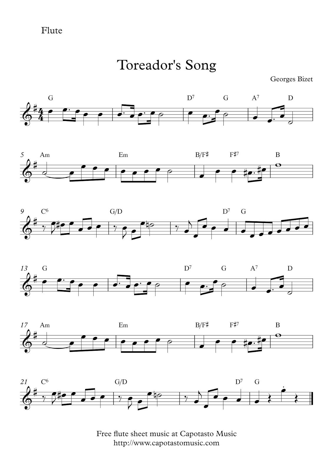 Toreador´s Song | Free Flute Sheet Music - Free Printable Flute Music