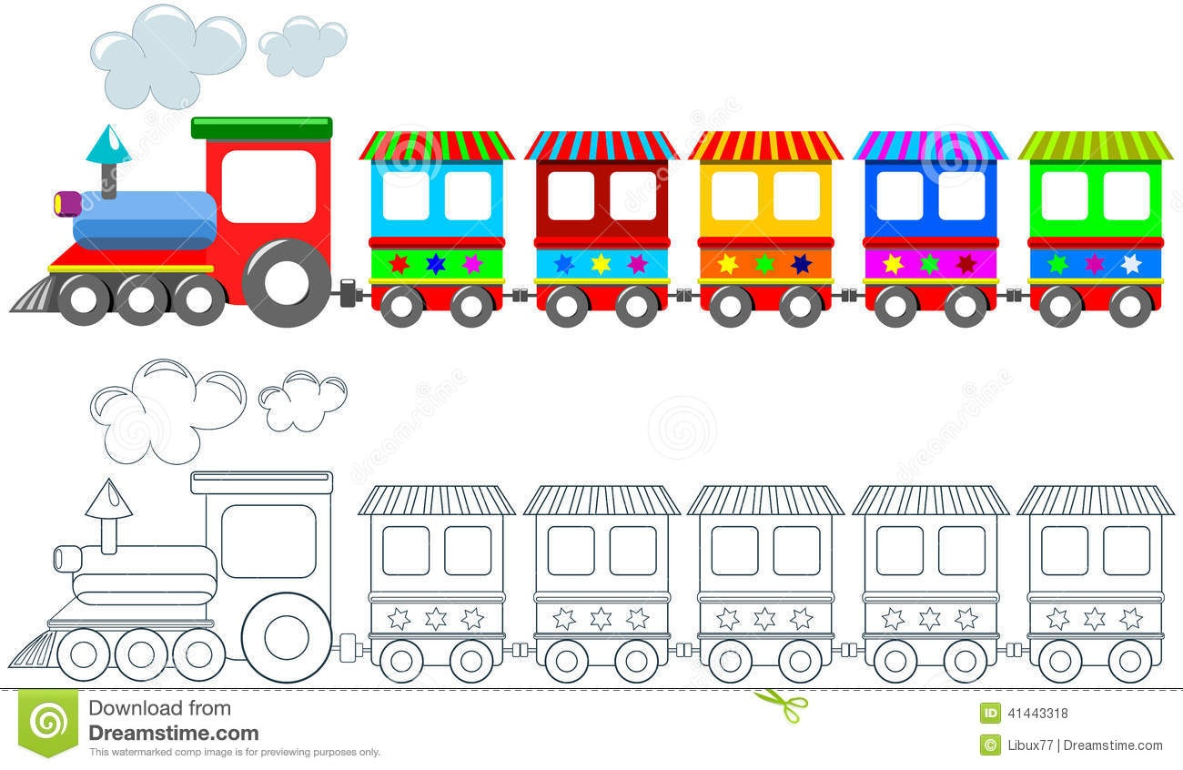 Toy Colorful Train Coloring Page Isolated Stock Vector - Free Printable Train Pictures