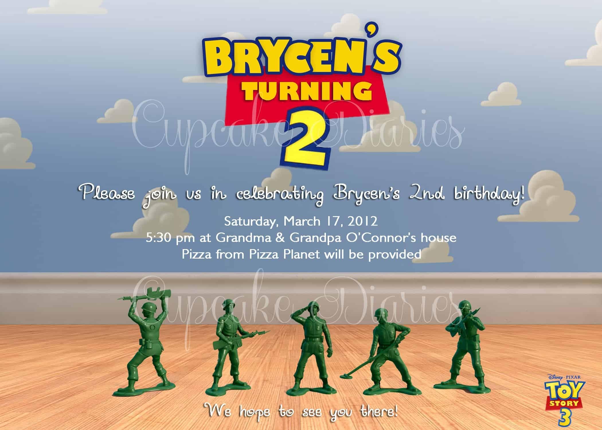 Toy Story 3 Birthday Party - Cupcake Diaries - Free Printable Toy Story 3 Birthday Invitations
