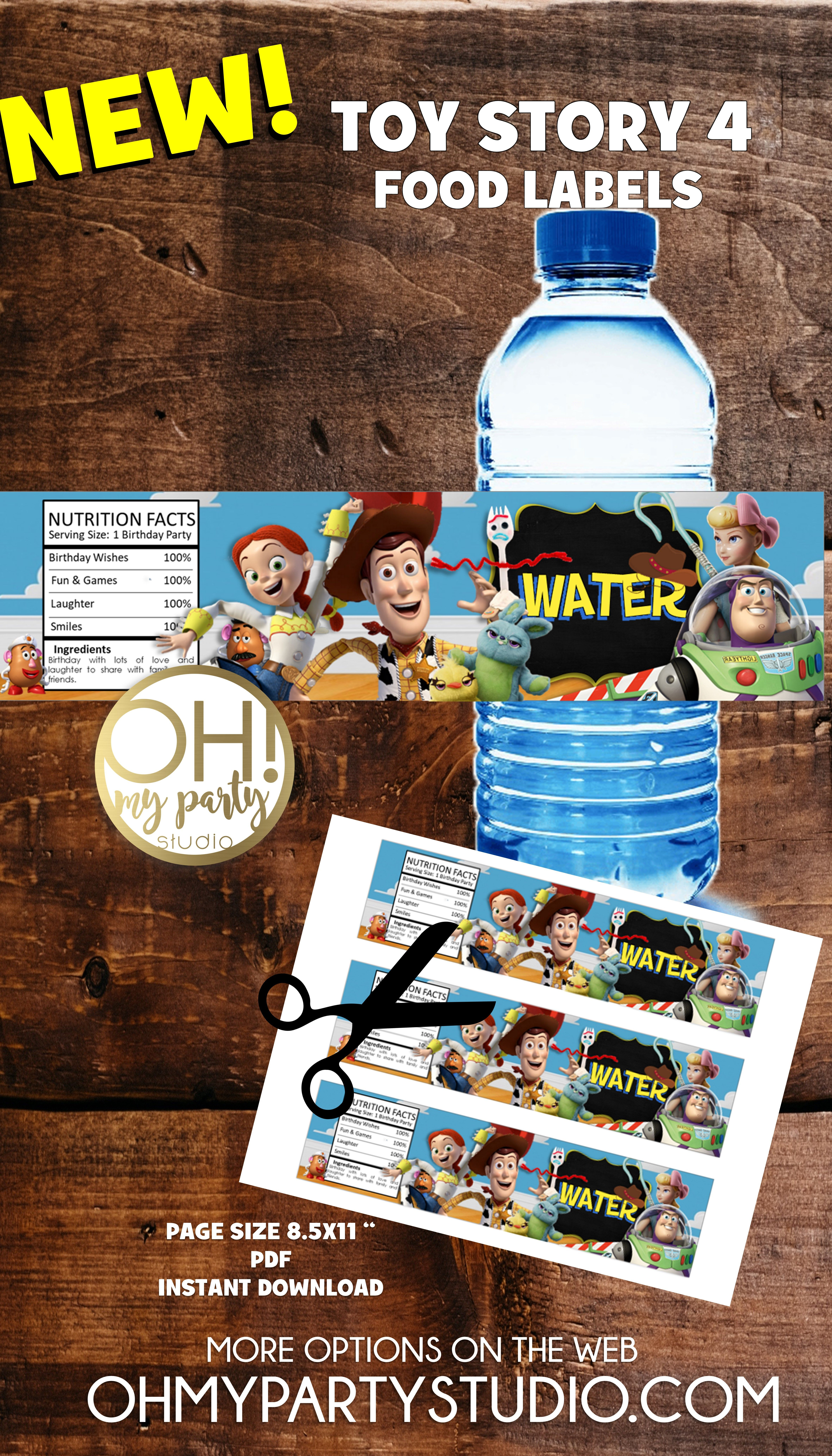 Toy Story 4 Water Labels Instant Download In 2019 | Party Printables - Free Printable Toy Story Water Bottle Labels