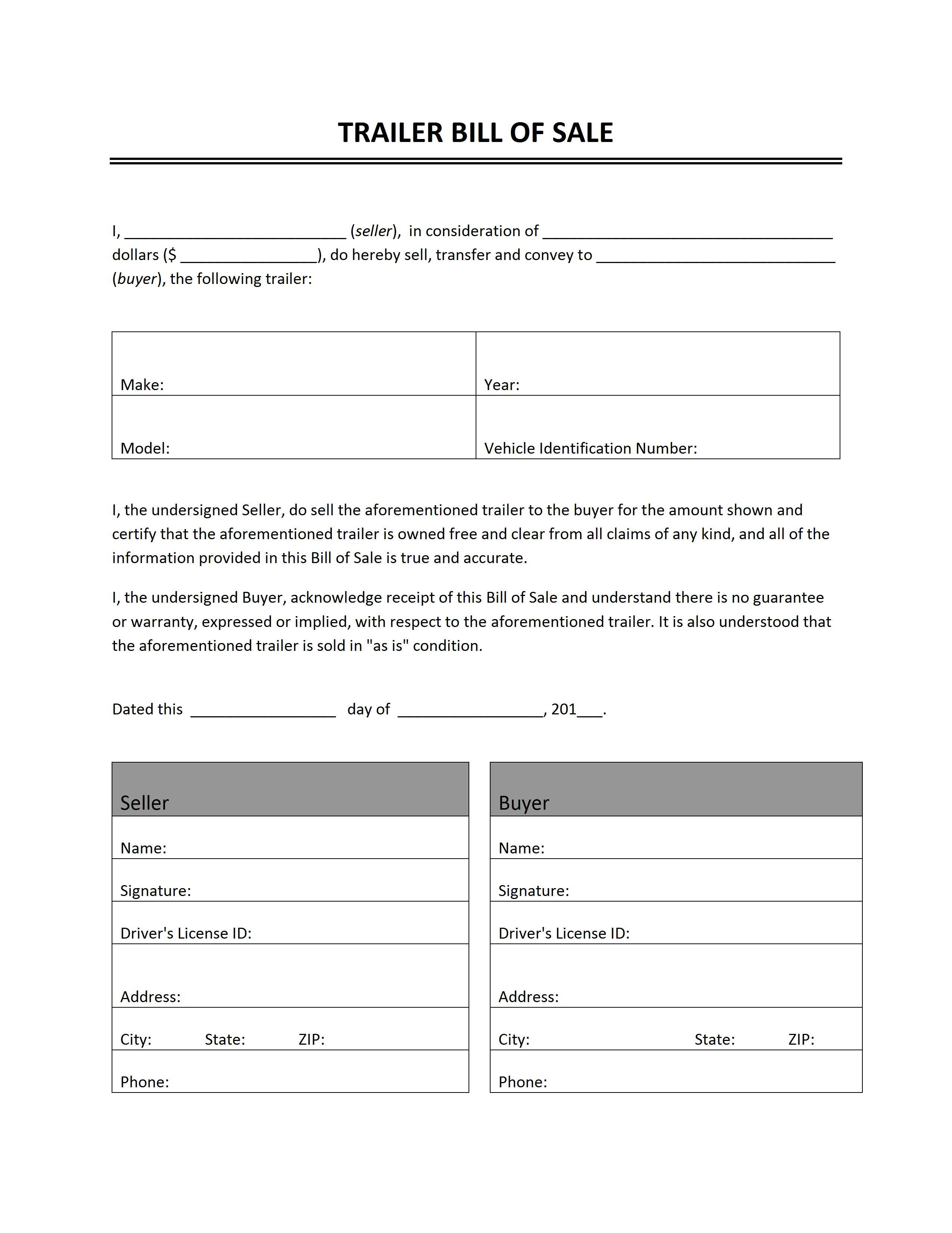 Trailer Bill Of Sale - Free Printable Bill Of Sale For Car