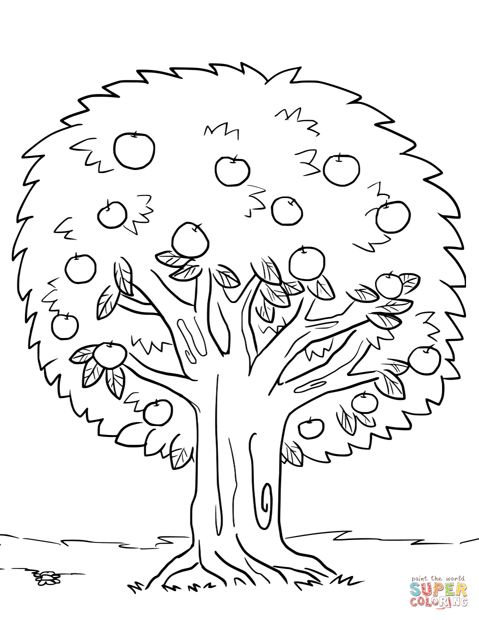 Tree Coloring Pages - Apple Tree Coloring Page Free Printable - Tree Coloring Pages Free Printable