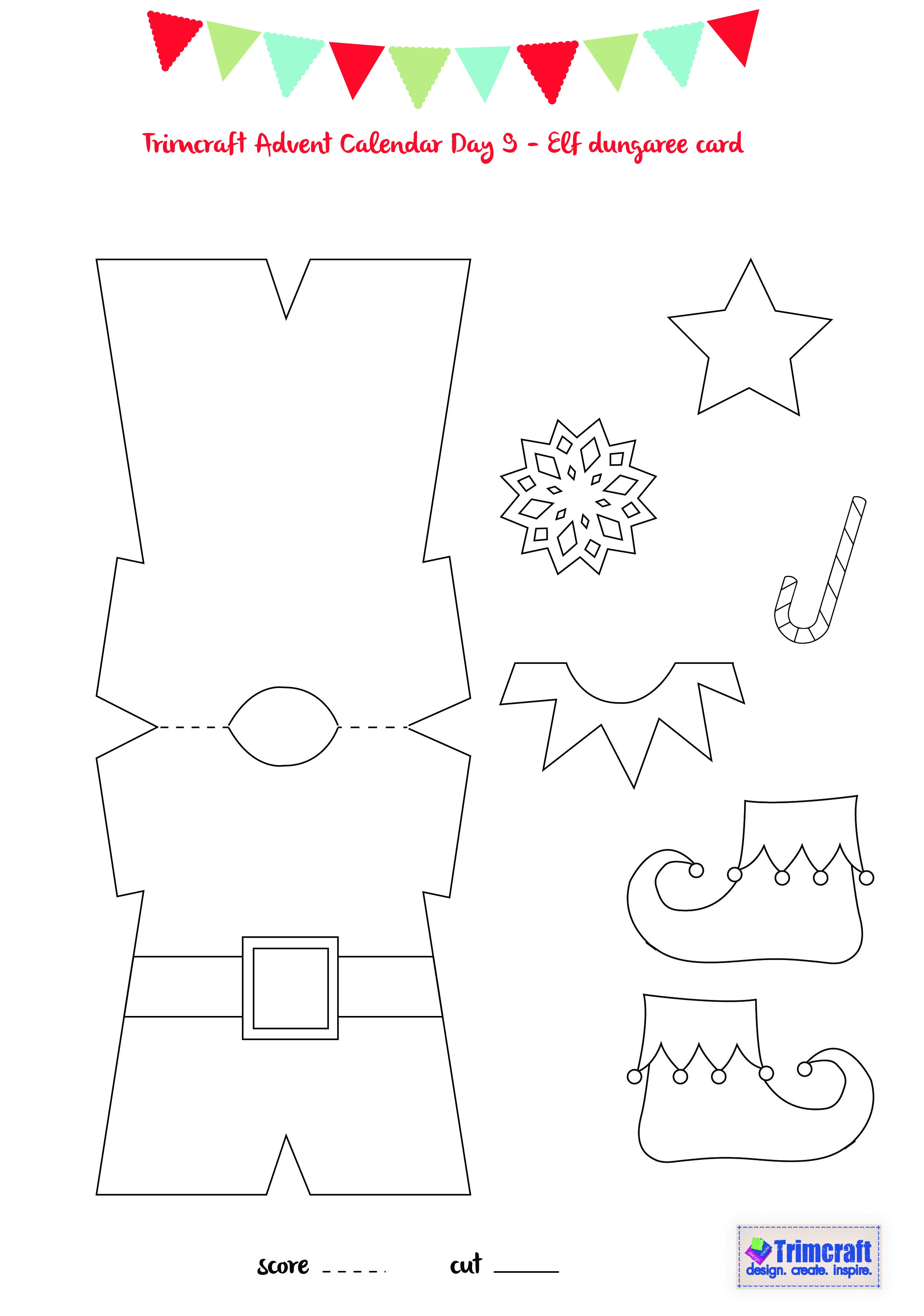Trimcraft Advent Calendar Day 9 - Elf Card Template | Winter - Free Printable Elf Pattern