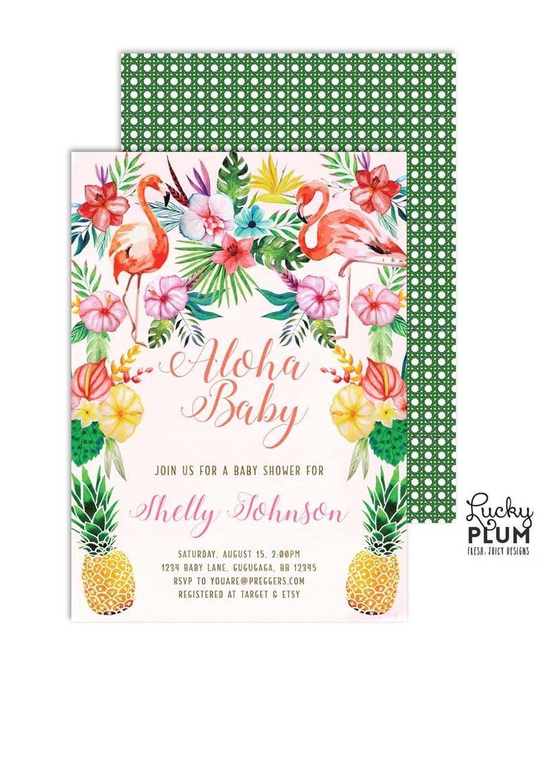 Tropical Baby Shower Invitation / Hawaiian Baby Shower | Etsy - Free Printable Luau Baby Shower Invitations