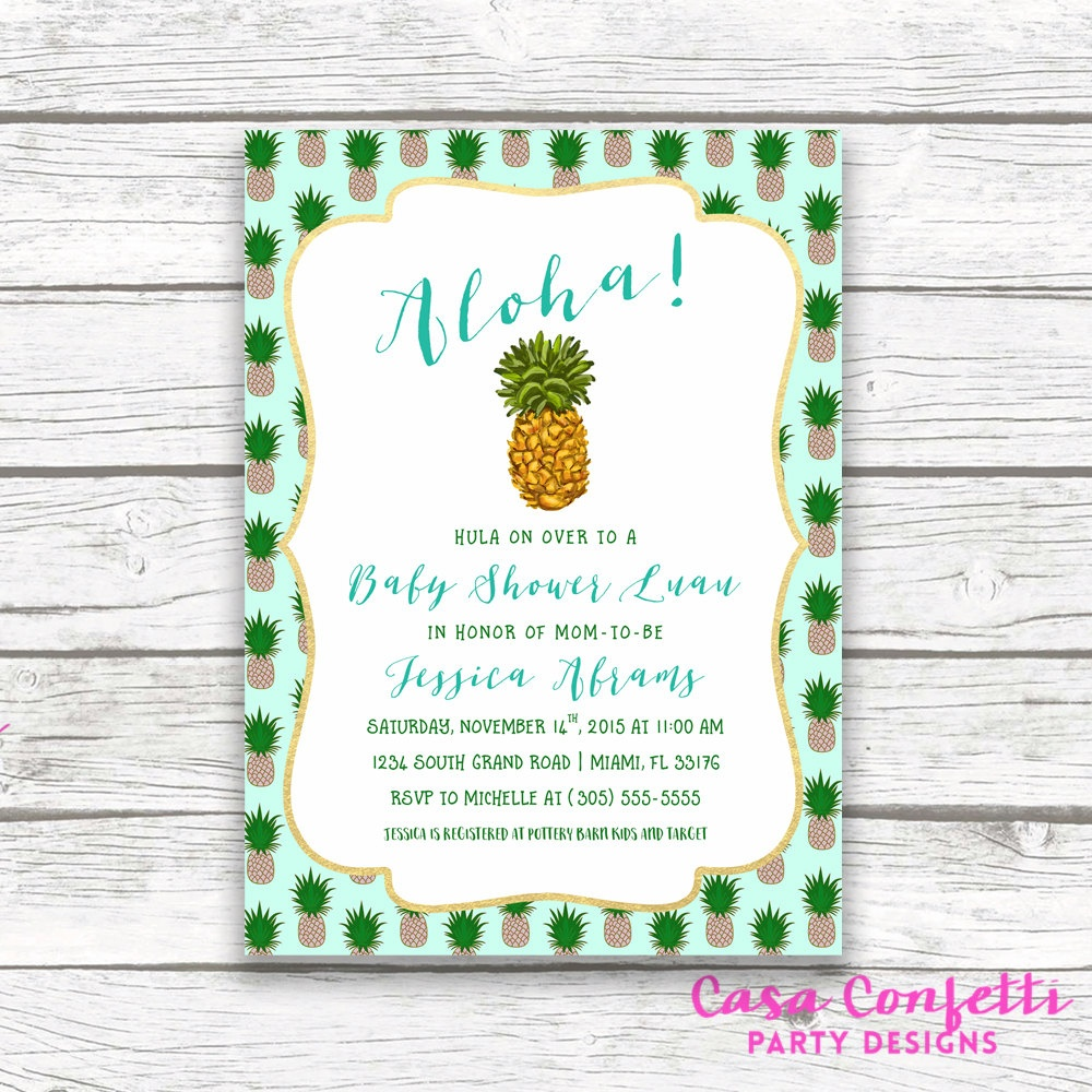 Tropical Baby Shower Invitation, Pineapple Invitation, Pineapple Baby - Free Printable Pineapple Invitations
