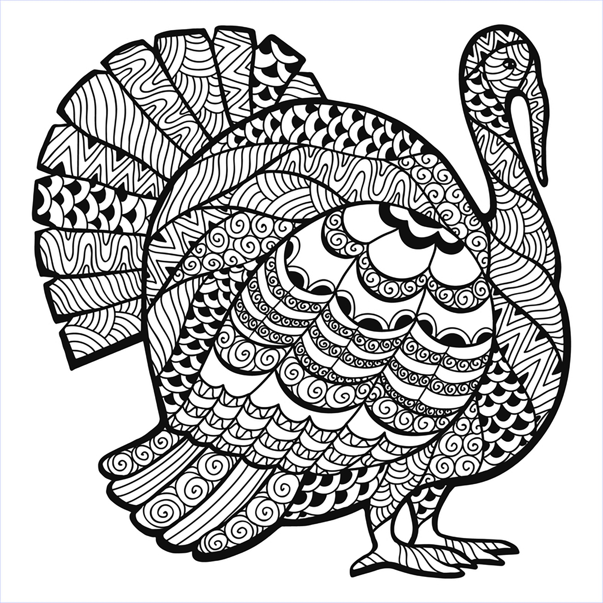 Turkey Zentangle Coloring Sheet - Thanksgiving Adult Coloring Pages - Free Printable Thanksgiving Coloring Pages