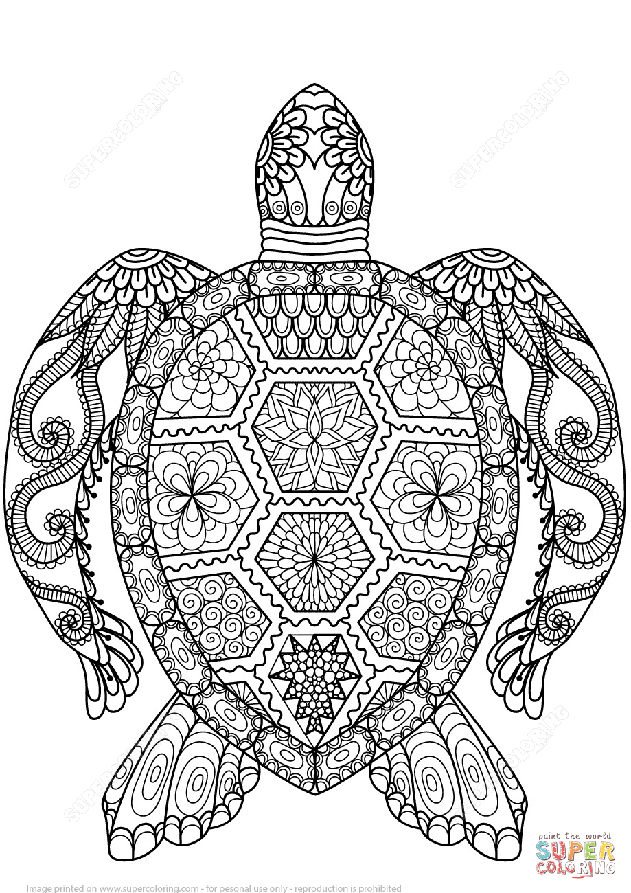 Turtle Zentangle Coloring Page | Free Printable Coloring Pages - Free Printable Zen Coloring Pages
