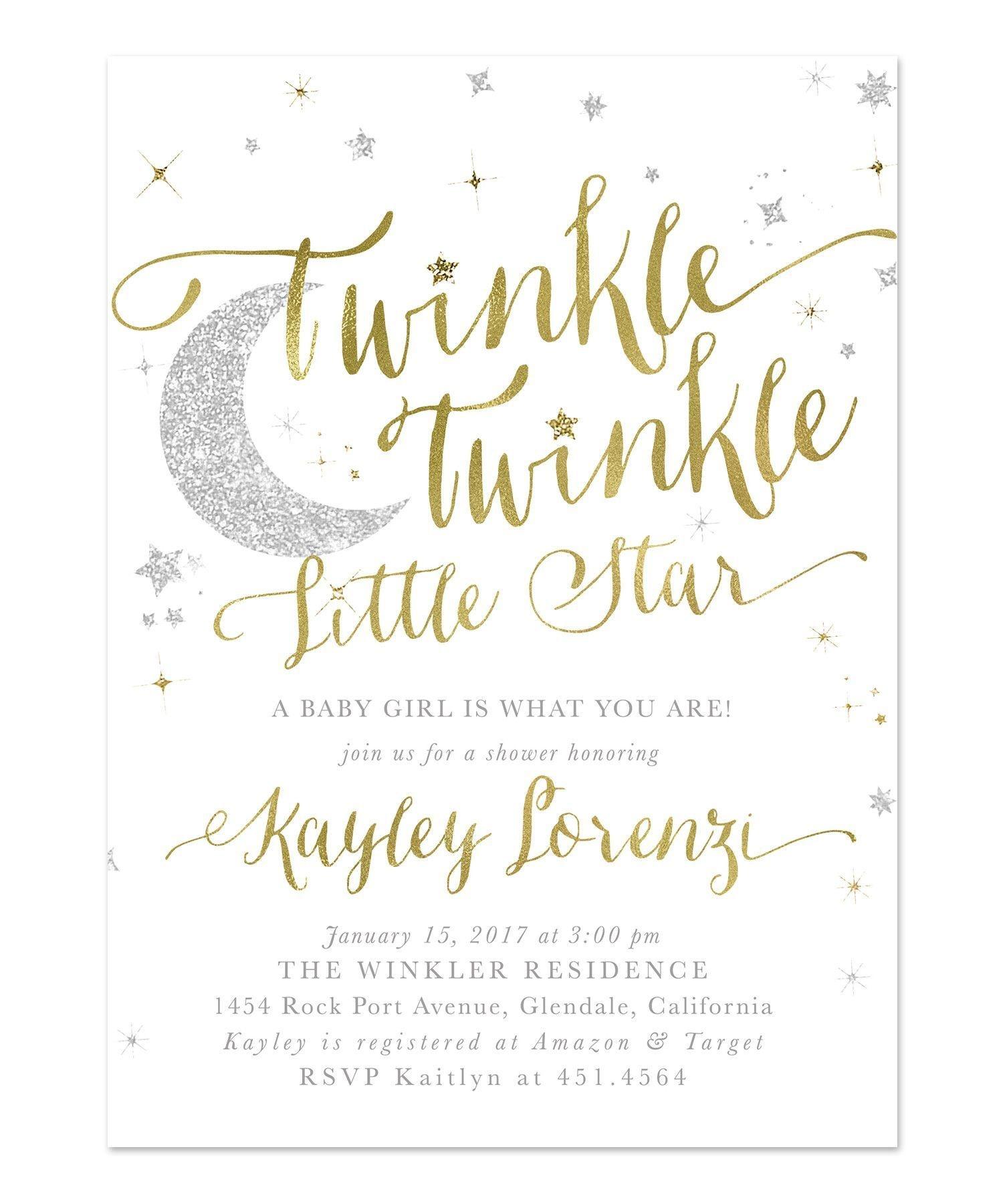 Twinkle Twinkle Little Star Boy Or Girl Baby Shower Invitation - Free Printable Twinkle Twinkle Little Star Baby Shower Invitations