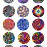 Tye Dye Bottle Cap Images | Collage Sheets Designs Patterns Prints   Free Printable Cabochon Templates