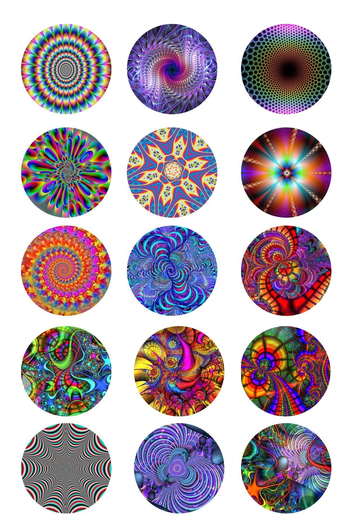Tye Dye Bottle Cap Images | Collage Sheets Designs Patterns Prints - Free Printable Cabochon Templates