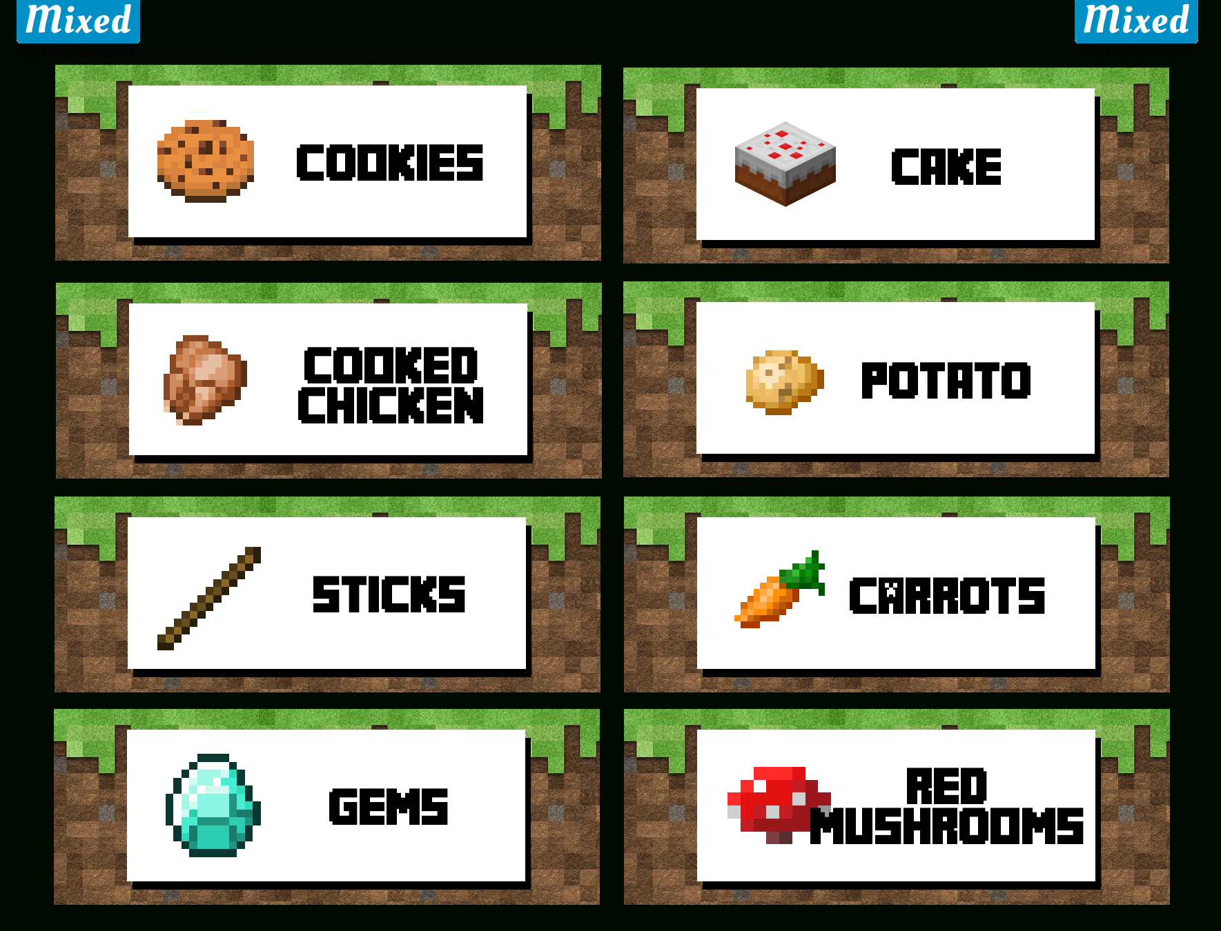 Ultimate Minecraft Party Printable Food Labels - Mixedstew - Free Printable Minecraft Food Labels
