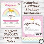 Unicorn Birthday Party Invitations And Thank You Notes   Free   Free Printable Unicorn Birthday Invitations