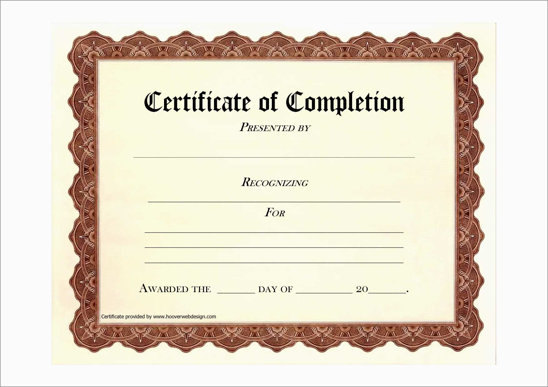Unique Certificate Of Completion Template Free Download | Best Of - Certificate Of Completion Template Free Printable