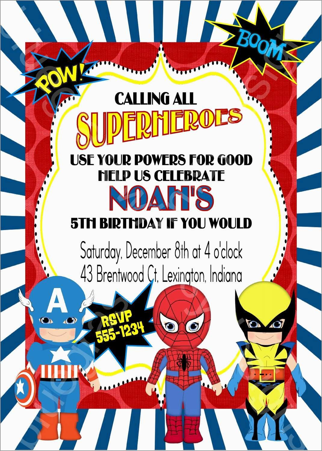 Unique Free Printable Superhero Birthday Invitation Templates | Best - Free Printable Superhero Birthday Invitation Templates
