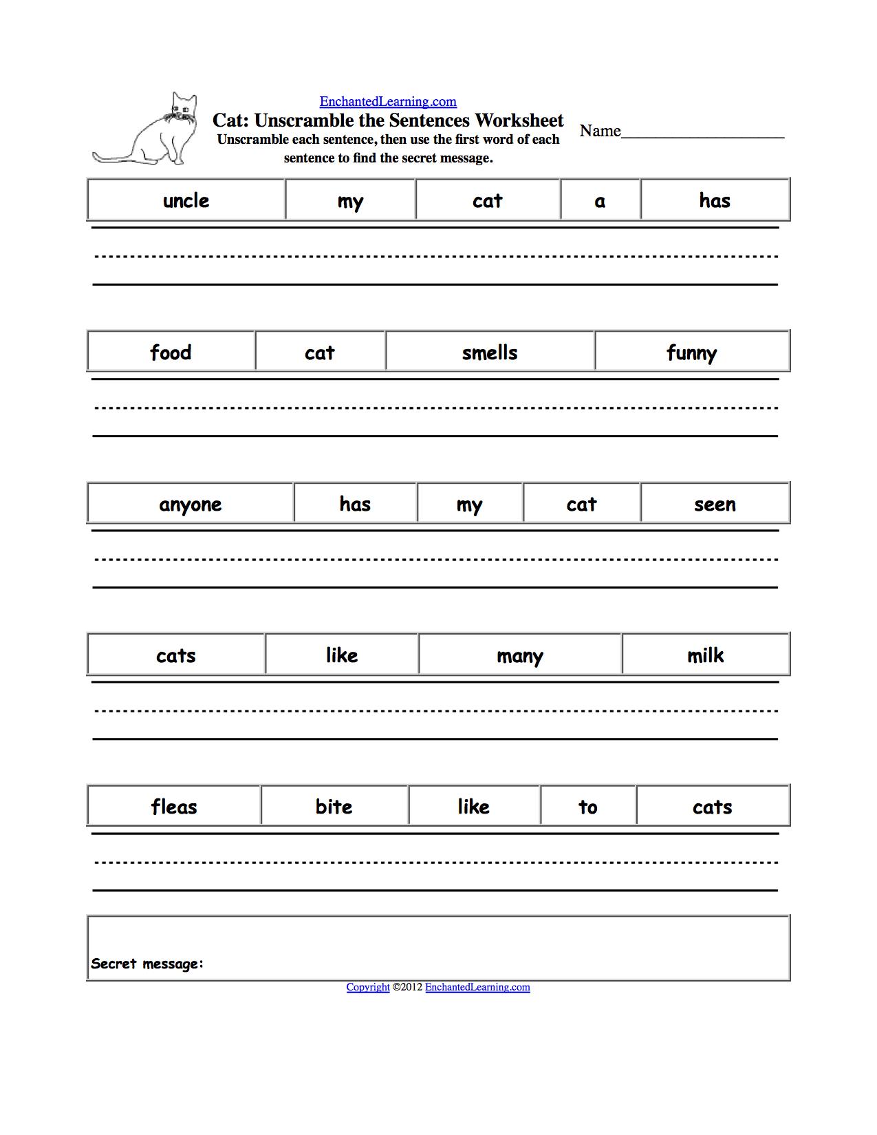 Unscramble The Sentences Worksheets - Enchantedlearning - Free Printable Scrambled Sentences Worksheets