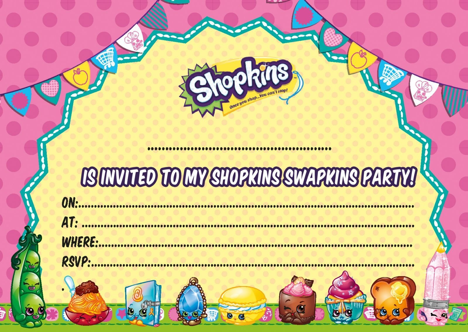 Updated - Free Printable Shopkins Birthday Invitation Template - Free Printable Shopkins Birthday Invitations