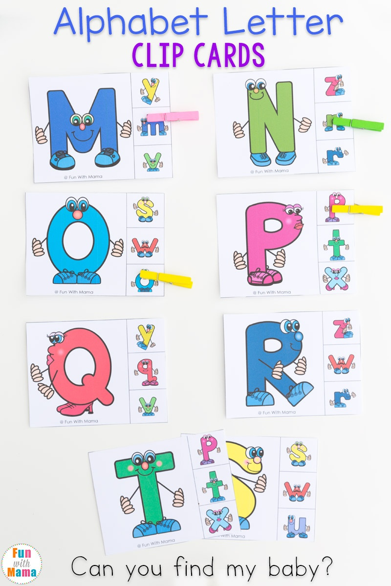 Uppercase And Lowercase Letter Matching Clip Cards - Fun With Mama - Free Printable Alphabet Letters Upper And Lower Case
