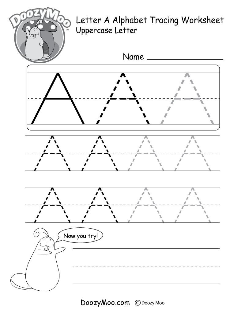 Uppercase Letter Tracing Worksheets (Free Printables) - Doozy Moo - Free Printable Tracing Alphabet Worksheets