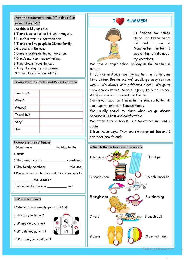 Vacation (I Love Summer!) Worksheet - Free Esl Printable Worksheets - Free Printable Esl Resources