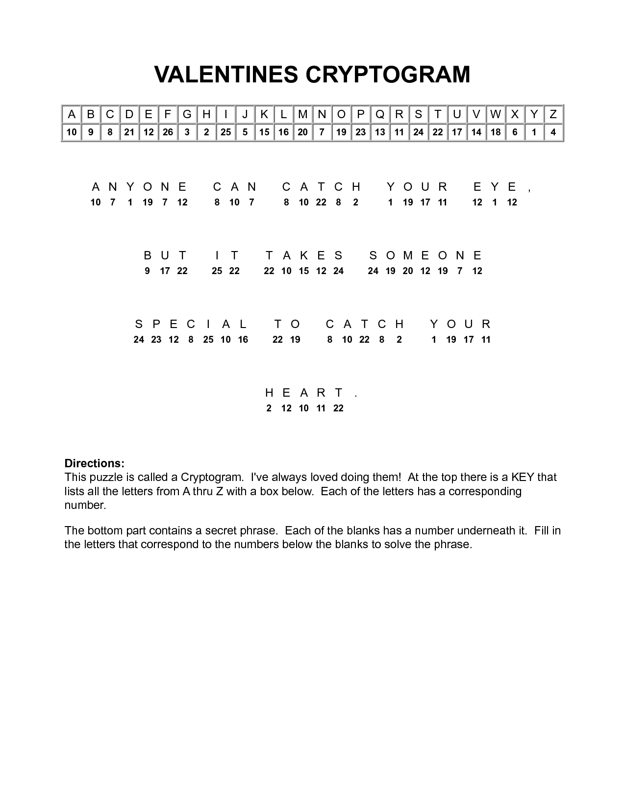 Valentine Cryptograms To Print | Valentines Cryptogram | Puzzles - Free Printable Cryptograms With Answers