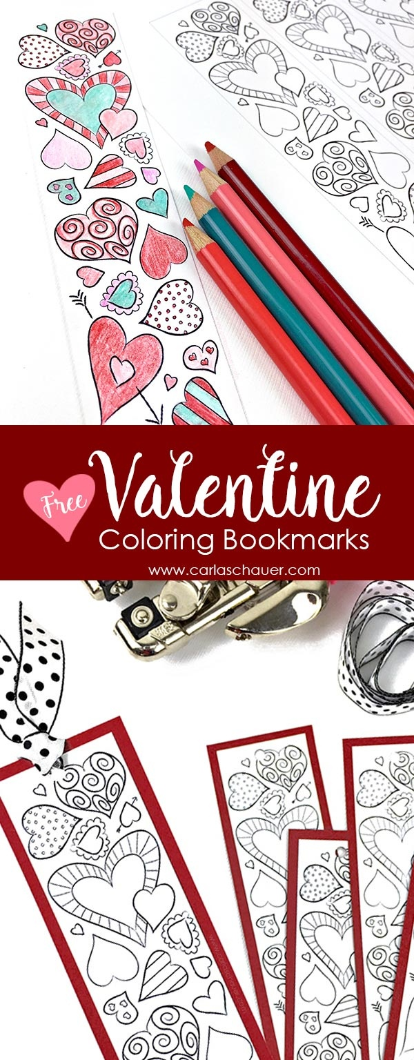 Valentine Heart Bookmarks To Print And Color | Carla Schauer Designs - Free Printable Valentine Bookmarks