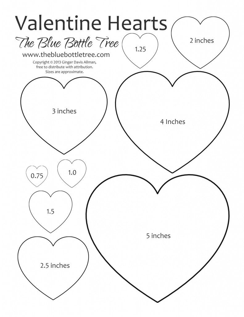 Valentine Heart Printable Clipart | Valentine | Heart Template - Free Printable Hearts
