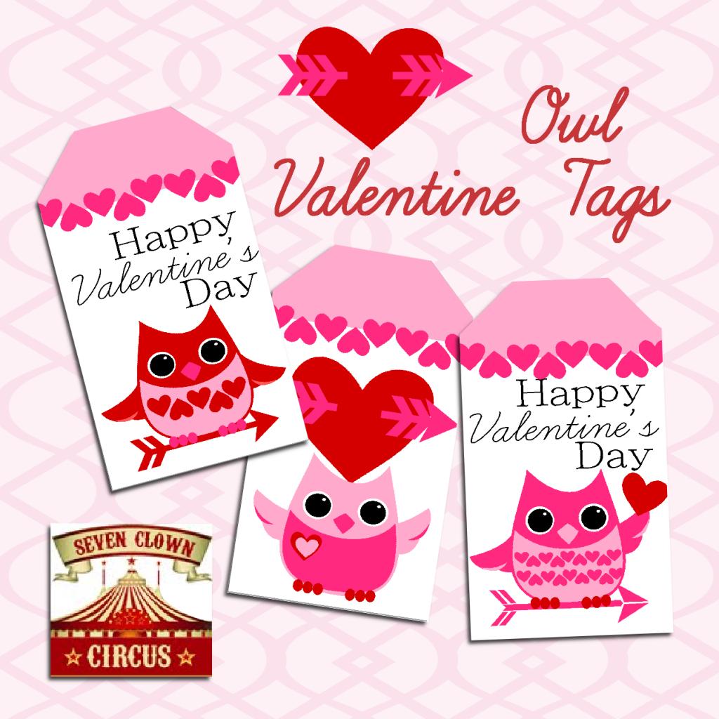 Valentine Owl Printable Tags {Free Printable} | Valentine's Day - Free Printable Valentine's Day Stencils