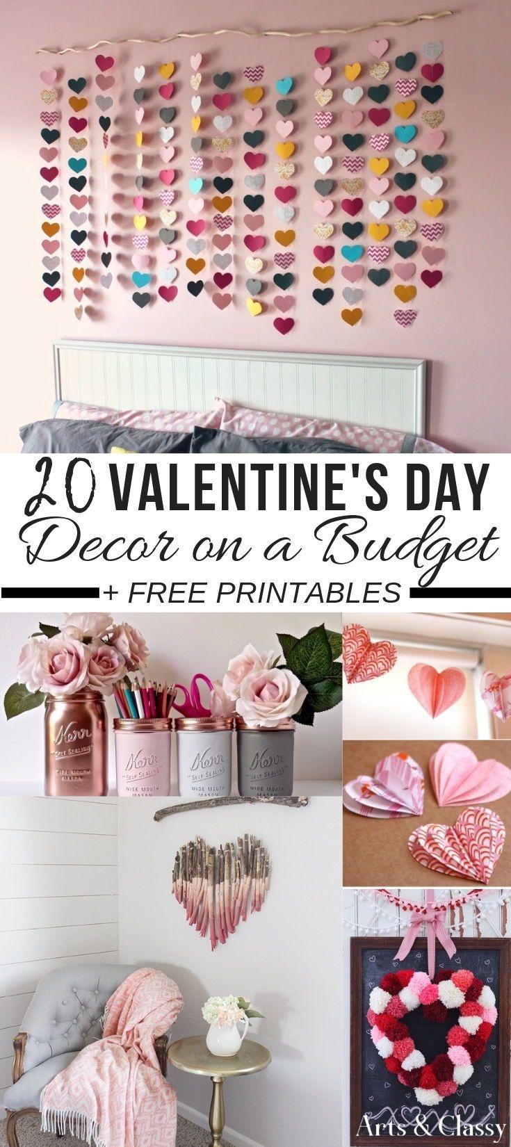 Valentine's Day Decor On A Budget + Free Printables | Valentines - Free Printable Valentine's Day Decorations