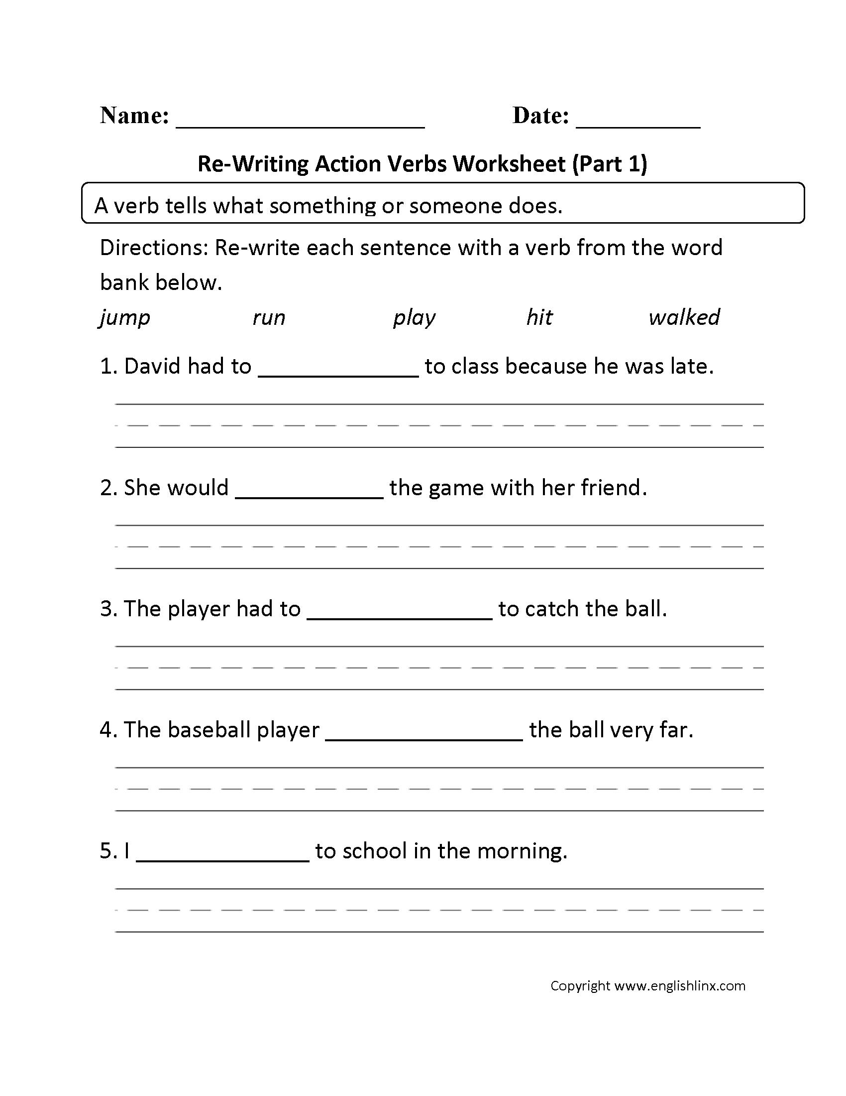 Verbs Worksheets   Action Verbs Worksheets - Free Printable Verb Worksheets