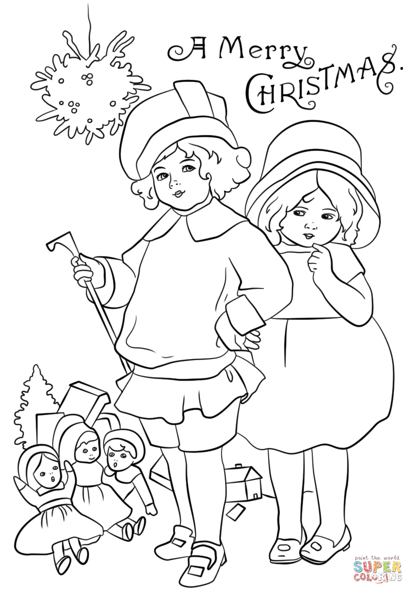 Victorian Christmas Card Coloring Page | Free Printable Coloring Pages - Free Printable Christmas Cards To Color