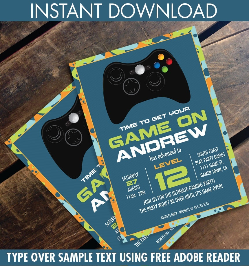 Video Game Birthday Party Invitation - Blue Camo - You Personalize - Free Printable Video Game Party Invitations