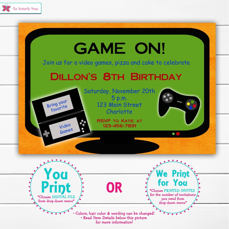 Video Game Birthday Party Invitation Video Game Party | Etsy - Free Printable Video Game Party Invitations